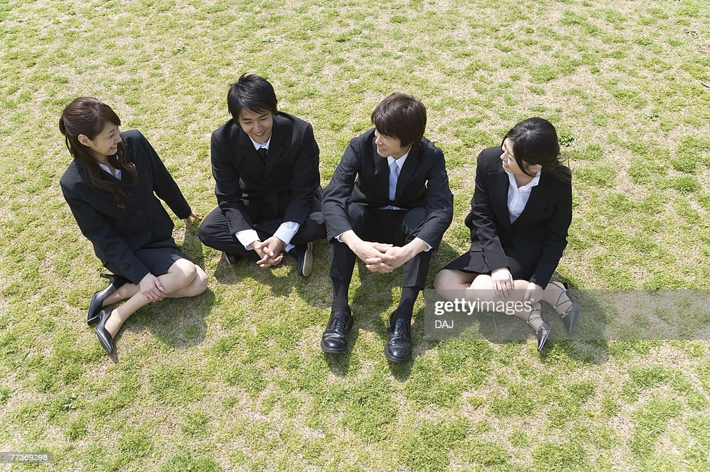 Businessmen and Businesswomen Sitting On Grass, High Angle View, Full Length : Photo