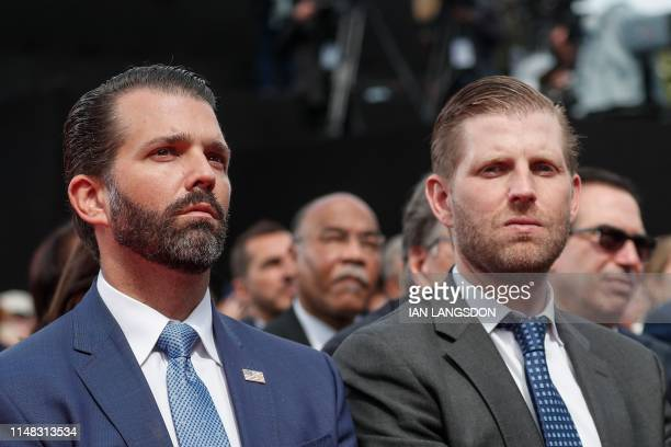 US businessmen and sons of the US president Donald Trump Jr and Eric Trump attend a FrenchUS ceremony at the Normandy American Cemetery and Memorial...