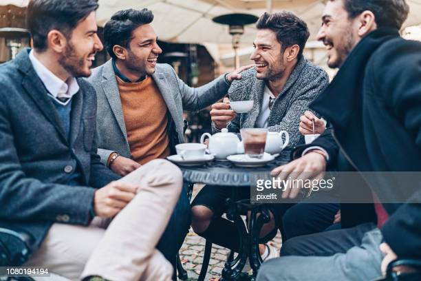 businessmen chatting over coffee - smart casual stock pictures, royalty-free photos & images