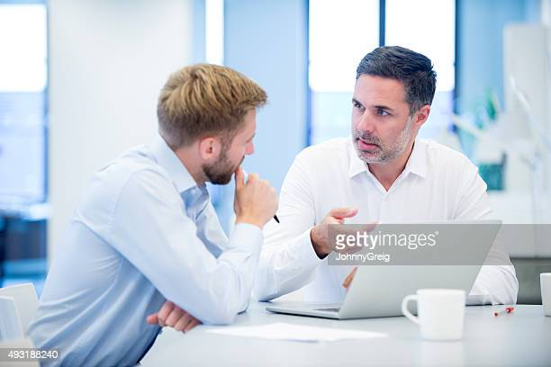 Businessmen discussing business project in modern office