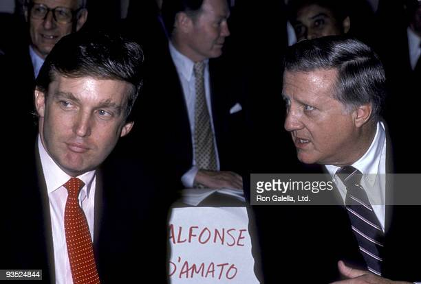 Businessmen Donald Trump and George Steinbrenner attend Liberty Luncheon on July 7 1986 at the Waldorf Hotel in New York City