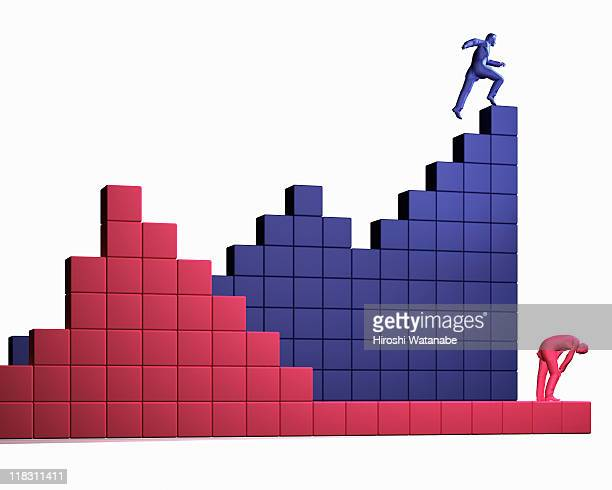 Businessmen going up and down on bar graph