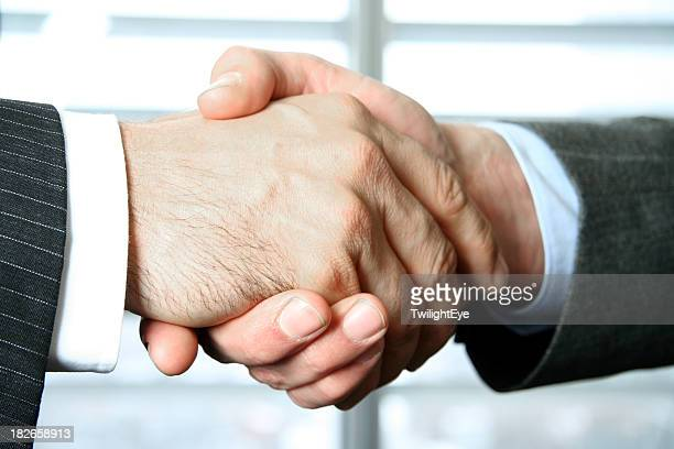 Businessmen greeting each other with a firm handshake
