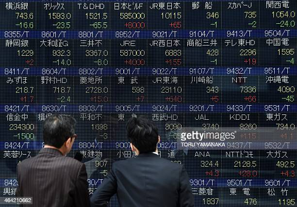 Businessmen look at an electric quotation board displaying share prices of the Nikkei key index of the Tokyo Stock Exchange in front of a securities...