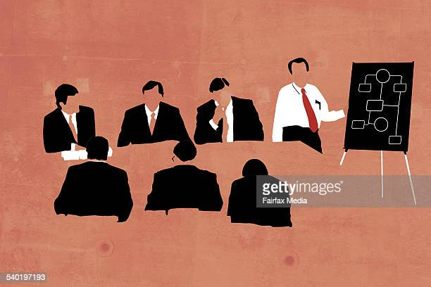 Businessmen meeting in the boardroom with presentation