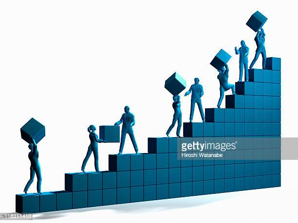 Businessmen moving blocks and going up on graph