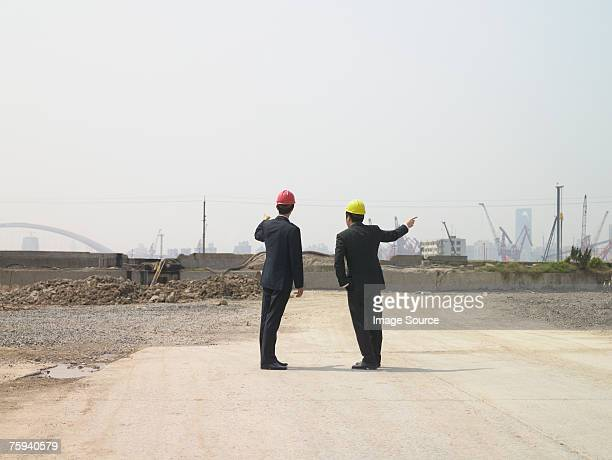 Businessmen on construction site