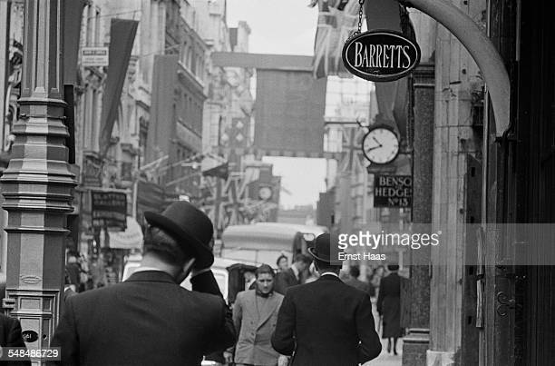 Businessmen on the street in Mayfair London circa 1953