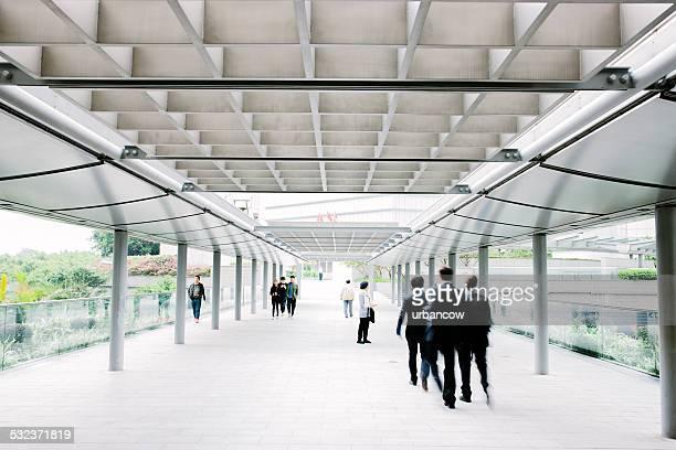 Businessmen, pedestrian walkway, Hong Kong