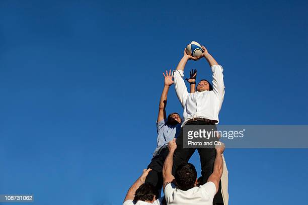 Businessmen Playing Rugby, Rugby Union Lineout