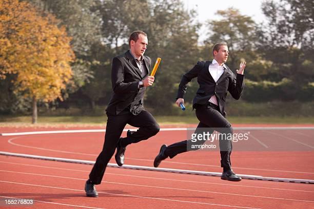 businessmen running for success slight motion blur