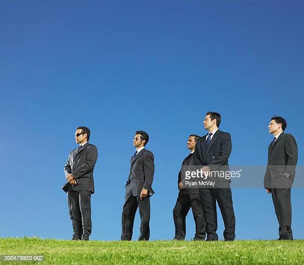 Businessmen standing on field