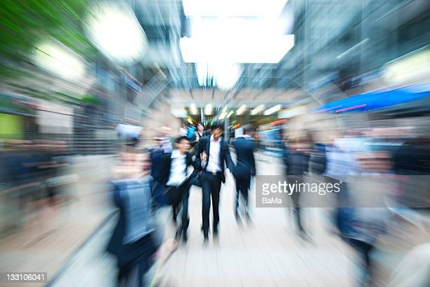 Businessmen Walking in Financial District