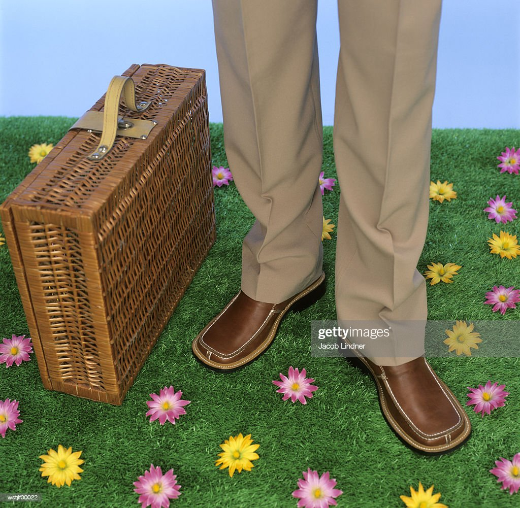 Businessmen with briefcase, low section : Stock Photo
