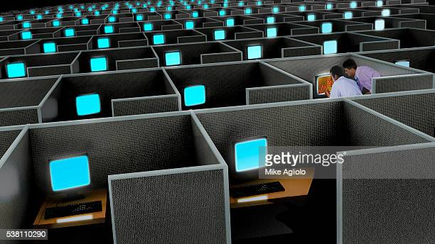 businessmen working in a cubicle - mike agliolo stock pictures, royalty-free photos & images