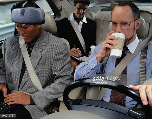 businesspeople car pooling - car pooling stock photos and pictures