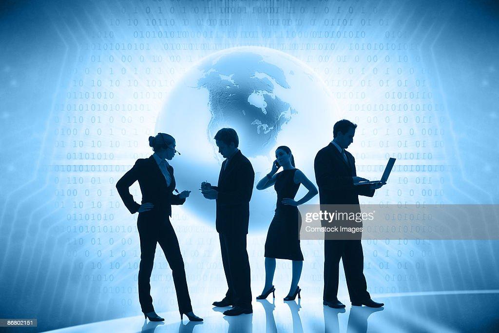 Businesspeople communicating globally : Stock Photo