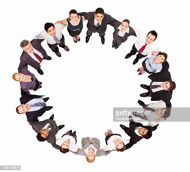 Businesspeople Embracing in a Circle - Isolated