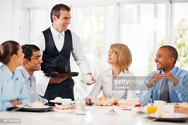 Businesspeople having a coffee break.