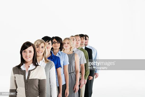 Businesspeople in line