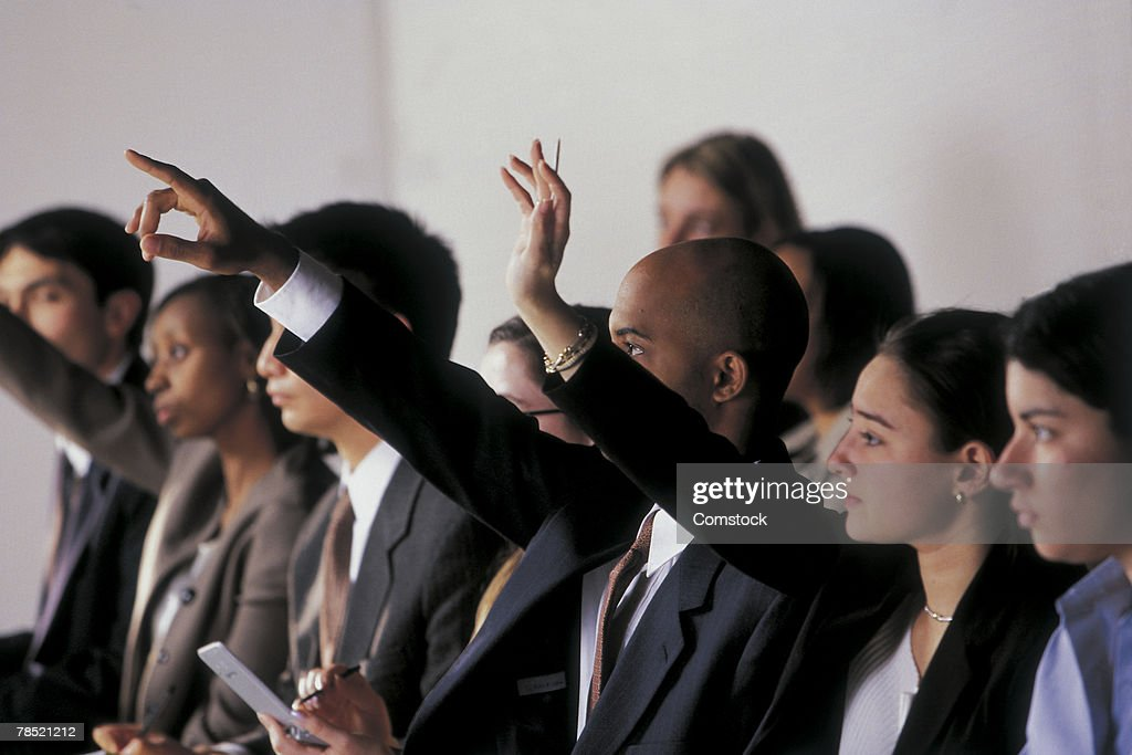 Businesspeople in press conference : Stock Photo