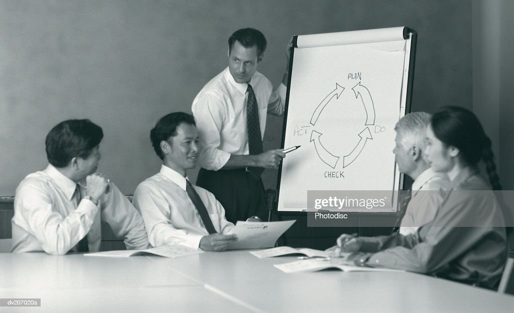 Businesspeople meeting & looking at easel : Stock Photo