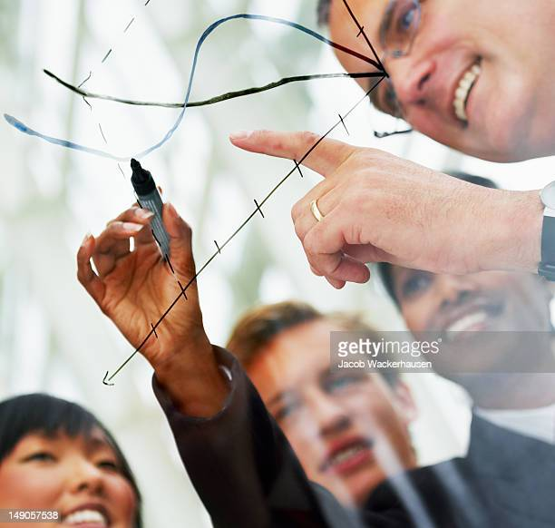 Businesspeople reviewing their performance with a graph