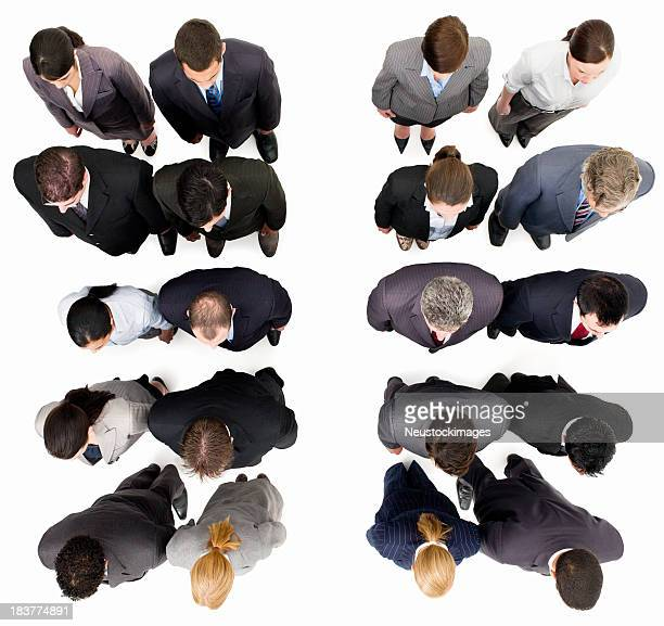 Businesspeople Standing in Rows - Isolated