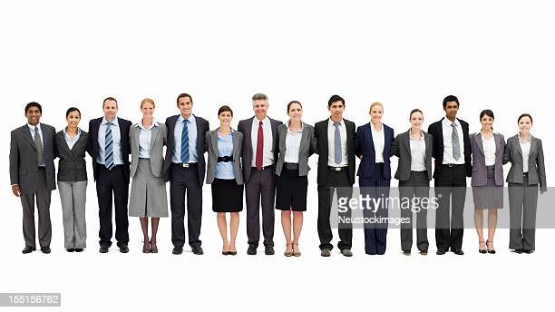 Businesspeople Standing with Arms Around One Another - Isolated