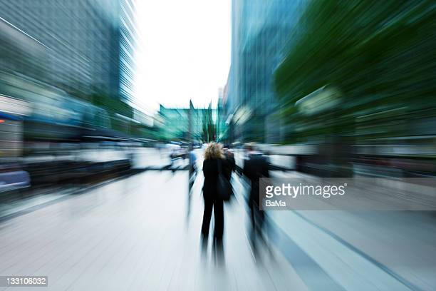 Businesspeople Walking in Financial District