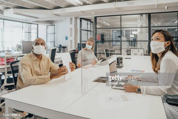 businesspeople working at office with glass partition dividing them - social distancing stock pictures, royalty-free photos & images