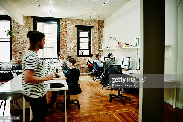 Businesspeople working in startup office