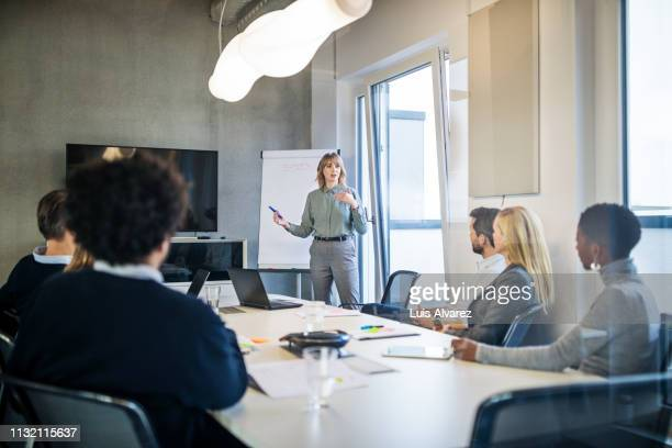 businesswoman addressing a meeting around board table - zakenbijeenkomst stockfoto's en -beelden