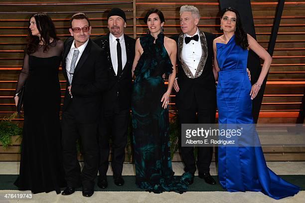 Businesswoman Ali Hewson musician Bono musician The Edge choreographer Morleigh Steinberg musician Adam Clayton and model Mariana Teixeira De...
