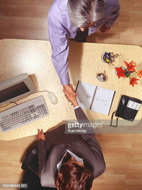 Businesswoman and businessman shaking hands in office, overhead view