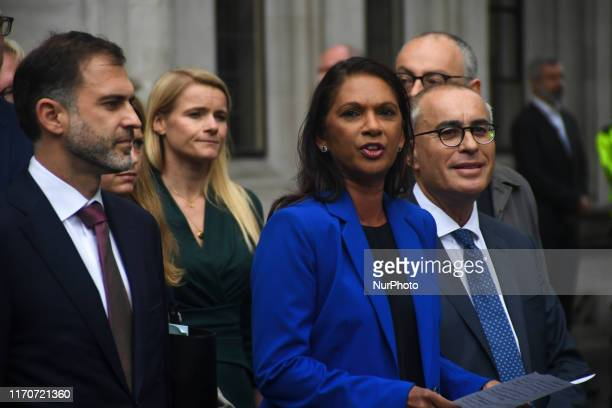 Businesswoman and campaigner Gina Miller speaks to the media outside the Supreme court in central London on September 24 2019 Britain's Supreme Court...