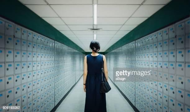 Businesswoman and data storage system