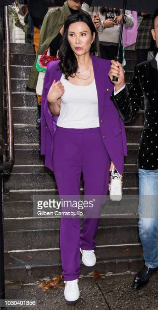 Businesswoman and movie producer Wendi Deng Murdoch is seen leaving the Escada SS19 fashion show during New York Fashion Week at Park Avenue Armory...