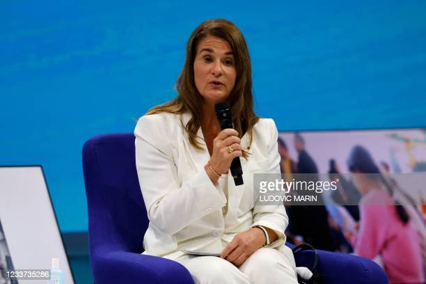 Businesswoman and philantropist Melinda Gates speaks during the Generation Equality Forum, a global gathering for gender equality convened by UN...
