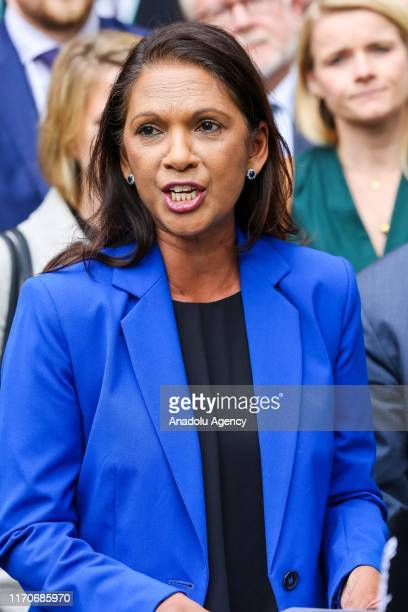 Businesswoman and political activist Gina Miller makes a statement outside Supreme Court in London, United Kingdom on September 24, 2019 after the...