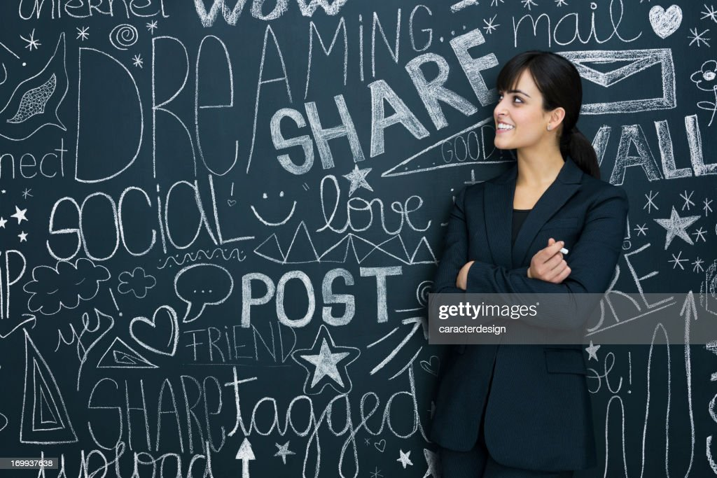 Businesswoman and social networks : Stock Photo