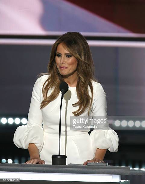 Businesswoman and wife of republican presidential candidate Donald Trump Melania Trump speaks during the Republican National Convention at Quicken...