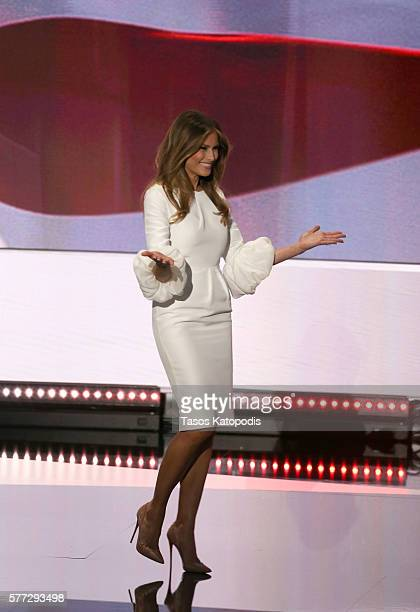 Businesswoman and wife of republican presidential candidate Donald Trump Melania Trump walks on stage during the Republican National Convention at...