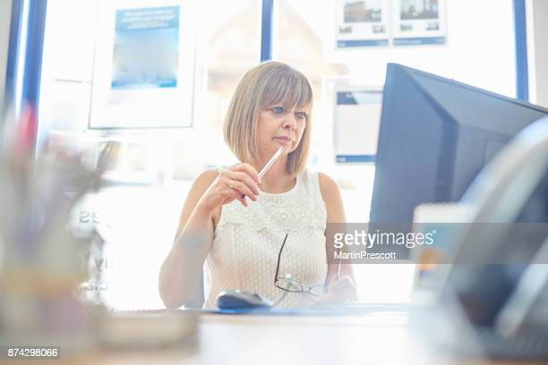 businesswoman at her desk - estate agency stock photos and pictures