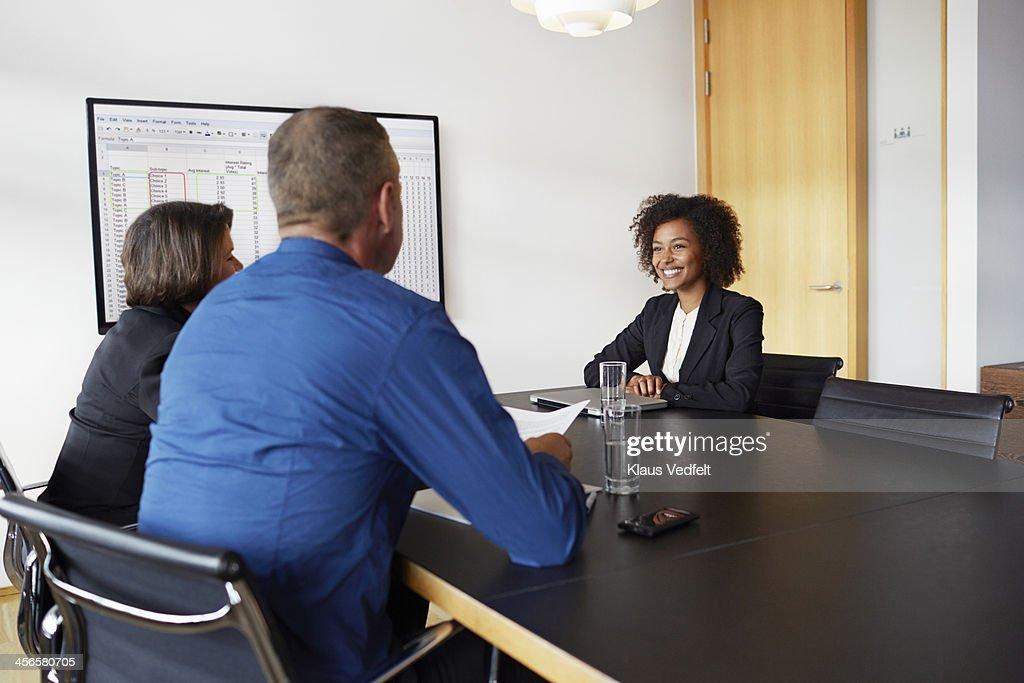 Businesswoman at job interview : Stock Photo