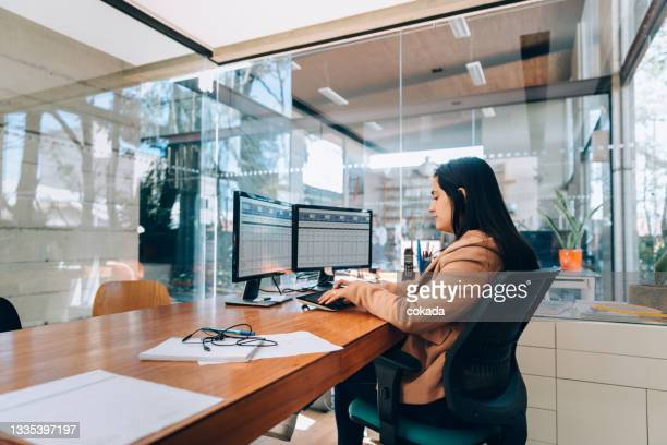 businesswoman at the office - economist stock pictures, royalty-free photos & images
