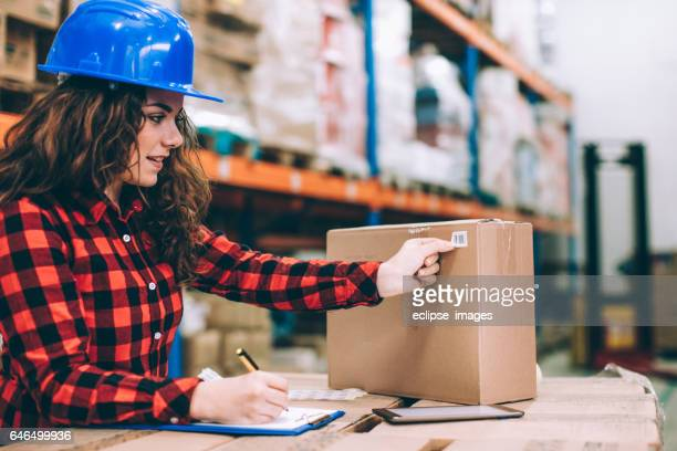 Businesswoman at warehouse checking inventory