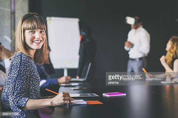 Businesswoman attending a presentation