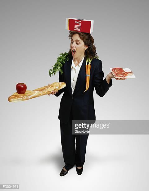 Businesswoman Balancing Food
