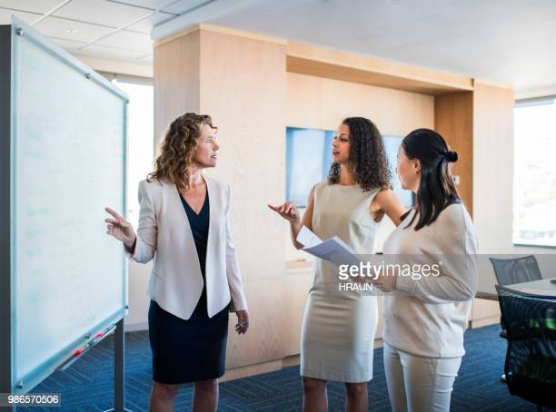 Collègues féminines de la femme d'affaires remue-méninges